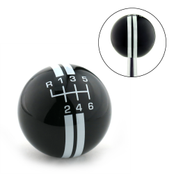 White Rally Stripe 6 Speed Shift Pattern Black Shift Knob with M16x1.5 Insert - Part Number: ASCSN18004