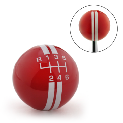 White Rally Stripe 6 Speed Shift Pattern Red Shift Knob with M16x1.5 Insert - Part Number: ASCSN18006