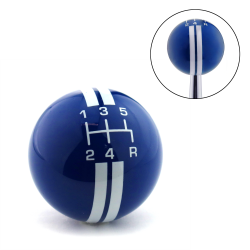 White Rally Stripe 5 Speed Shift Pattern Blue Shift Knob with M16x1.5 Insert - Part Number: ASCSN18007