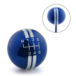 White Rally Stripe 6 Speed Shift Pattern Blue Shift Knob with M16x1.5 Insert - Part Number: ASCSN18008
