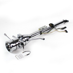 "Helix 33"" Chrome Keyed Steering Column ~ Column Shift with 9 Hole Wheel Adapter - Part Number: HEX7AD37"