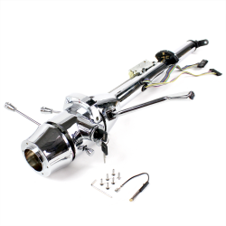 "Helix 33"" Chrome Keyed Steering Column ~ Column Shift with 6 Hole Wheel Adapter - Part Number: HEX7AD2F"