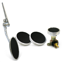 Oval Firewall Mnt Gas Pedal, Round Brake/Clutch/Dimmer Pad ~  Chromed Billet - Part Number: ASC7AD56