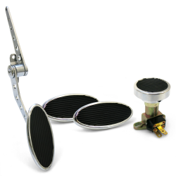 Oval Firewall Mnt Gas Pedal, Sm Oval Brake/Clutch/Dimmer Pad ~  Chromed Billet - Part Number: ASC7AD54