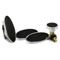 Oval Floor Mount Gas Pedal, Lg Oval Brake/Clutch/Dimmer Pad ~  Chromed Billet - Part Number: ASC7AD52