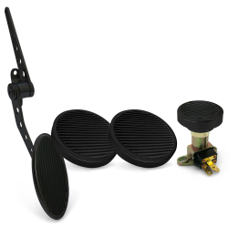 Oval Firewall Mnt Gas Pedal, Round Brake/Clutch/Dimmer Pad ~  Black Billet - Part Number: ASC7AD62