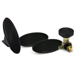 Oval Floor Mount Gas Pedal, Lg Oval Brake/Clutch/Dimmer Pad ~  Black Billet - Part Number: ASC7AD5E