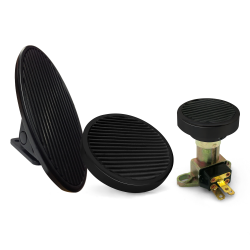 Oval Floor Mount Gas Pedal, Round Brake Pad and Dimmer Pad ~  Black Billet - Part Number: ASC7AD59