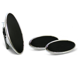 Oval Floor Mount Gas Pedal, Sm Oval Brake & Clutch Pad ~  Chromed Billet - Part Number: ASC7AD69