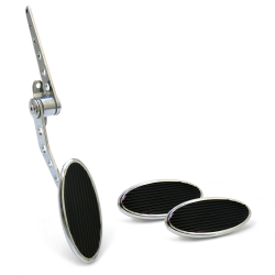 Oval Firewall Mount Gas Pedal, Sm Oval Brake & Clutch Pad ~  Chromed Billet - Part Number: ASC7AD6C