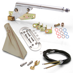 Floor Mount Emergency Parking Brake~ Tan Boot, Chrome Ring and Cable Kit - Part Number: ASC7ADC1