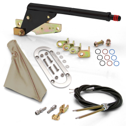 Floor Mount Black Emergency Parking Brake~ Tan Boot, Chrome Ring and Cable Kit - Part Number: ASC7ADBB