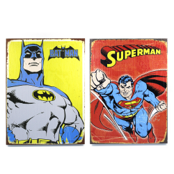 Retro DC Superman & Batman Wooden Sign Man Cave Combo Pack - Part Number: VPAWSIGNB001