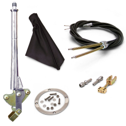 "16"" Trans Mnt Emergency Hand Brake ~ Black Boot, Silver Ring and Cable Kit - Part Number: ASC7ADC8"