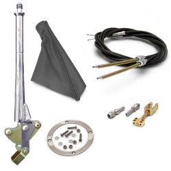 "16"" Trans Mnt Emergency Hand Brake ~ Grey Boot, Silver Ring and Cable Kit - Part Number: ASC7ADC9"