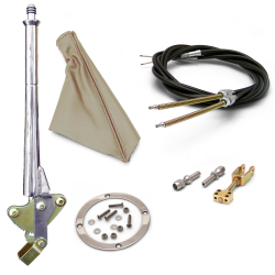 "11"" Trans Mnt Emergency Hand Brake ~ Tan Boot, Silver Ring and Cable Kit - Part Number: ASC7ADC4"