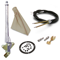 "11"" Trans Mnt Emergency Hand Brake ~ Tan Boot, Black Ring and Cable Kit - Part Number: ASC7ADC7"