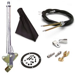 "16"" Trans Mnt E-Brake Handle~Black Boot, Blk Ring, Cable Kit, GM Clevis' - Part Number: ASC7AE27"