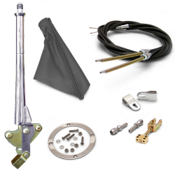 "16"" Trans Mnt E-Brake Handle~Gray Boot, Chr Ring, Cable Kit, GM Clevis' - Part Number: ASC7AE25"