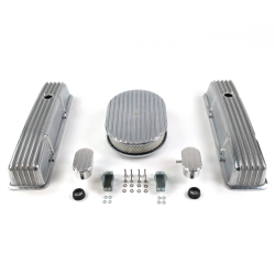 "SBC 12"" Full Oval/Tall Finned Engine Dress Up kit~w/ Breathers (PCV) - Part Number: VPA7AC1C"