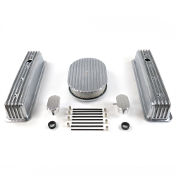 "SBC 12"" Full Oval/Tall Center Bolt Finned Engine Dress Up kit~w/ Breathers (PCV) - Part Number: VPA7AC1D"