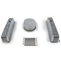 "SBC 12"" Half Oval/Tall Center bolt Finned Engine Dress Up kit~Holes No Breathers - Part Number: VPA7AC23"