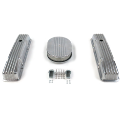 "SBC 12"" Half Oval/Short Finned Engine Dress Up kit~Holes No Breathers - Part Number: VPA7AC27"