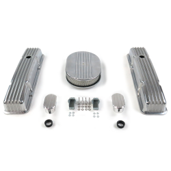 "SBC 12"" Half Oval/Tall Finned Engine Dress Up kit~w/ Breathers (No PCV) - Part Number: VPA7AC28"