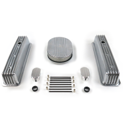 "SBC 12"" Half Oval/Tall Center Bolt Engine Dress Up kit~w/ Breathers (No PCV) - Part Number: VPA7AC29"