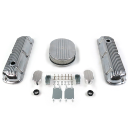 "SBF 12"" Half Oval/Finned Engine Dress Up kit~w/ Breathers (No PCV) 289-351 - Part Number: VPA7AC2A"