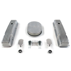 "SBC 12"" Half Oval/Short Finned Engine Dress Up kit~w/ Breathers (No PCV) - Part Number: VPA7AC2C"