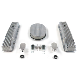 "SBC 12"" Half Oval/Tall Finned Engine Dress Up kit~w/ Breathers (PCV) - Part Number: VPA7AC2D"
