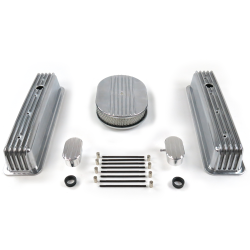 "SBC 12"" Half Oval/Tall Center Bolt Finned Engine Dress Up kit~w/ Breathers (PCV) - Part Number: VPA7AC2E"