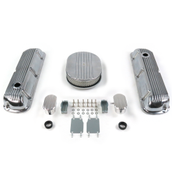 "SBF 12"" Half Oval/Finned Engine Dress Up kit~w/ Breathers (PCV) 289-351 - Part Number: VPA7AC2F"