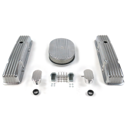 "SBC 12"" Half Oval/Short Finned Engine Dress Up kit~w/ Breathers (PCV) - Part Number: VPA7AC31"