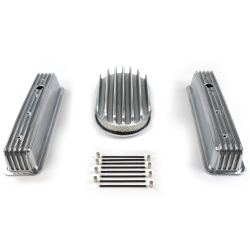 "SBC 12"" Deep Oval/Tall Center bolt Finned Engine Dress Up kit~Holes No Breathers - Part Number: VPA7AC35"