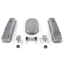 "SBC 15"" Full Oval/Short Finned Engine Dress Up kit~w/ Breathers (PCV) - Part Number: VPA7AC55"