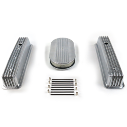 "SBC 15"" Half Oval/Tall Center bolt Finned Engine Dress Up kit~Holes No Breathers - Part Number: VPA7AC58"