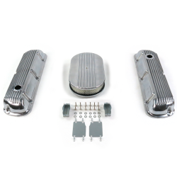 "SBF 15"" Half Oval/Finned Engine Dress Up kit~Holes No Breathers 289-351 - Part Number: VPA7AC59"