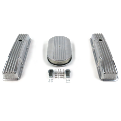 "SBC 15"" Half Oval/Short Finned Engine Dress Up kit~Holes No Breathers - Part Number: VPA7AC5B"