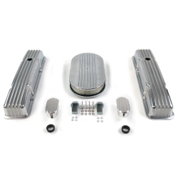 "SBC 15"" Half Oval/Tall Finned Engine Dress Up kit~w/ Breathers (No PCV) - Part Number: VPA7AC5C"