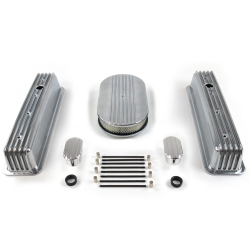 "SBC 15"" Half Oval/Tall Center Bolt Engine Dress Up kit~w/ Breathers (No PCV) - Part Number: VPA7AC5D"