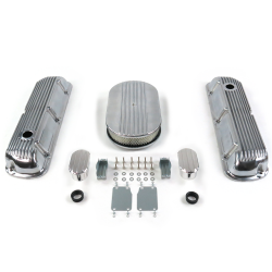 "SBF 15"" Half Oval/Finned Engine Dress Up kit~w/ Breathers (No PCV) 289-351 - Part Number: VPA7AC5E"