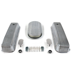 "BBC 15"" Half Oval/Finned Engine Dress Up kit~w/ Breathers (No PCV) - Part Number: VPA7AC5F"