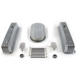 "SBC 15"" Half Oval/Tall Center Bolt Finned Engine Dress Up kit~w/ Breathers (PCV) - Part Number: VPA7AC62"
