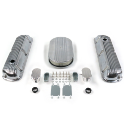 "SBF 15"" Half Oval/Finned Engine Dress Up kit~w/ Breathers (PCV) 289-351 - Part Number: VPA7AC63"