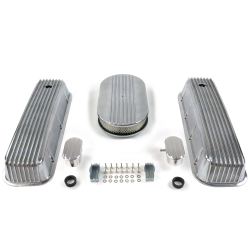 "BBC 15"" Half Oval/Finned Engine Dress Up kit~w/ Breathers (PCV) - Part Number: VPA7AC64"