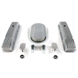 "SBC 15"" Half Oval/Short Finned Engine Dress Up kit~w/ Breathers (PCV) - Part Number: VPA7AC65"
