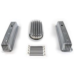 "SBC 15"" Deep Oval/Tall Center bolt Finned Engine Dress Up kit~Holes No Breathers - Part Number: VPA7AC68"