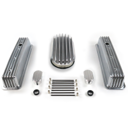 "SBC 15"" Deep Oval/Tall Center Bolt Engine Dress Up kit~w/ Breathers (No PCV) - Part Number: VPA7AC6D"